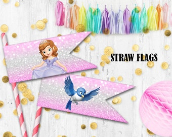 Princess Sofia Straw flags Cupcake toppers Sofia the First birthday party prints