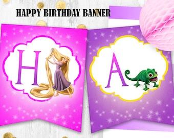 Rapunzel birthday banner Tangled Happy birthday banner Digital printable banner