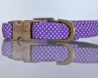The Mia - Dog Collar, Lilac Purple Polka Dot Pattern