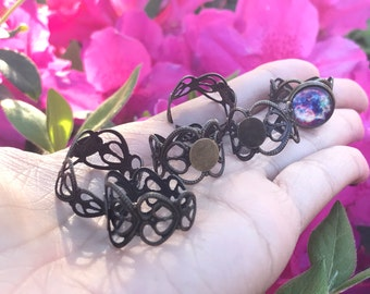 Antique Bronze Tone Lace Adjustable Size 10mm Ring Blanks 6pcs
