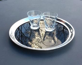 Bar Tray, Serving Tray, Silverplate Rim and Smoke Glass, Wallace, 9009