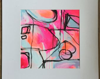 "Original Abstract Painting on Canvas Panel, Modern Art, Neon, Fluorescent, Neon Pink, Neon Orange, Blue ""Fantasy Park No.2"""
