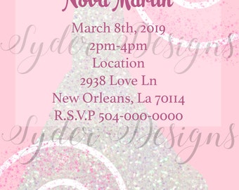 pink and white custom bridal shower invitation