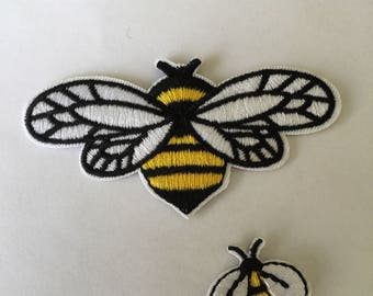 Bumble Bee Pair Embroidered Patch Iron Or Sew On
