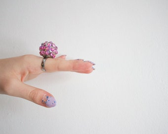 Disco ball Pink Statement Ring