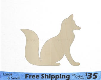 Fox Shape - Woodland Wildlife - Large & Small - Pick Size - Laser Cut Unfinished Wood Cutout Shapes (SO-0112)