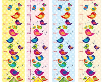 Bar: Birds | Measuring bar for children | Scale | can be personalised with name, date of birth