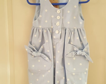 Girls blue pokedot playsuit and matching hairband age 3