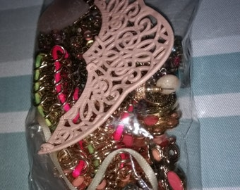 Pink/Salmon Broken Vintage Jewelry HodgePodge for Crafting