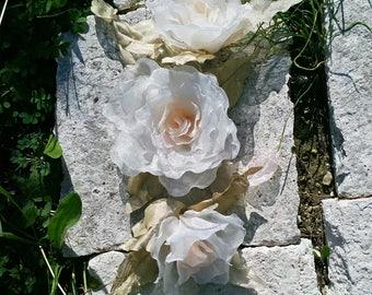 Handmade Wedding Fabric Flowers Bouquet. Fabric Flowers. Flower With a Bud. Wedding Flowers. Bridal Accessories. Handmade Flowers.