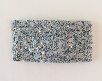 Charcoal blue gray glitter snap clip OR alligator clip
