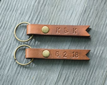 Personalized Leather Keychain, Custom Key Fob, Father's Day Gift