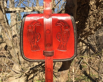 """Birka style """"Viking"""" pouch w/ hand-tooled Ravens"""