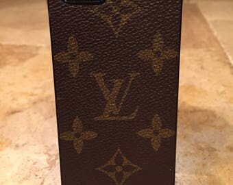 Handcrafted iphone 5 hard cell phone case covered with re-purposed Louis Vuitton canvas