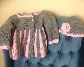 Darling Baby Girl Sweater and Hat Set