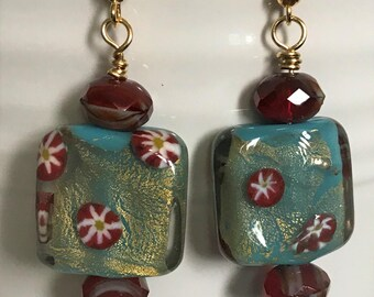 Red and Blue Beaded Dangles-Flower Earrings-Czech Glass Bead Jewelry-One of A Kind Gifts-Gifts for Her