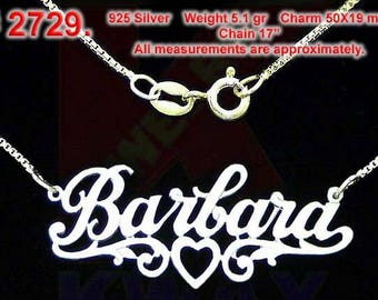 BARBARA Personalized .925 Name Necklace Heart Charm