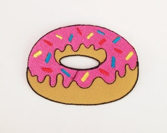 Pink doughnut patch Doughnut iron on patch Sweet patch