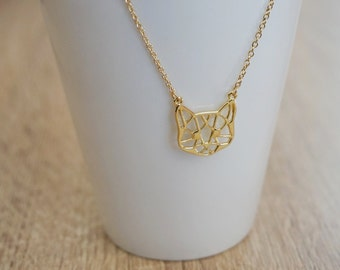 Necklace cat origami, gold plated 18 k, silver plated