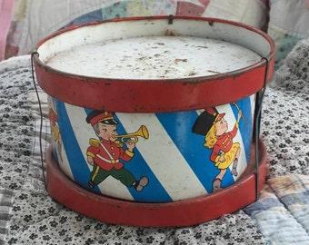 Vintage tin kids drum