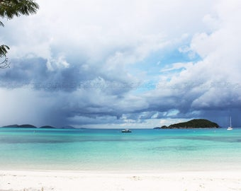 Caribbean Storms, Trunk Bay St John USVI, Large Beach Photography, Oversized Wall Art, Island Vacation Sailing White Sand Tropical Caribbean