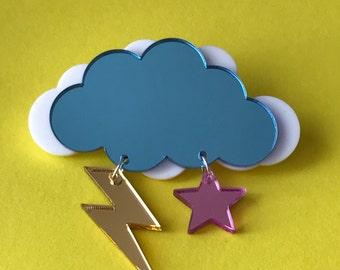 Laser Cut Acrylic Storm Cloud Brooch - Plastic jewellery - Acrylic Brooch - Lightening Bolt - shiney plastic