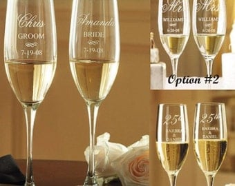 Wedding Champagne Flutes -SET OF TWO(2), Engraved,Bride & Groom Glasses, Personalized