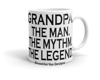 Father's Day Mug - Grandpa. The Man. The Myth. The Legend. Topography Design