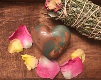 Heart Shaped OCEAN Jasper Palm Stone