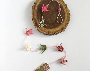 Mini Garland with message of 7 washi paper origami cranes