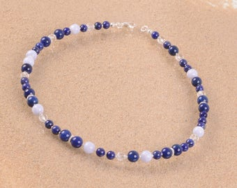 Gemstone necklace made of lapis lazuli, rock crystal, blue chalcedony, 925 he silver carabiner, length 47 cm