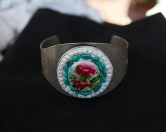 Pink Flower Mosaic Cuff Bracelet