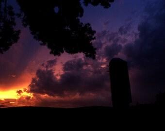 Rainbow Sunset Over Silo- Canvas Print