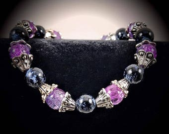 8'' Two Tone Purple and Black Beaded Bracelet