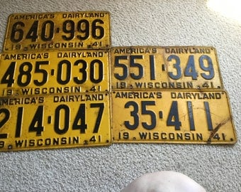 Lot of five 1941 WISCONSIN LICENSE PLATES