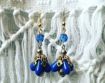 Blue Dew Drop Earring