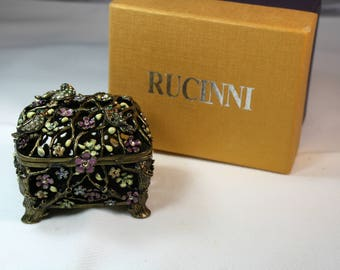 RUCINNI Bronze Footed Trinket Box, Swarvoski Crystals with Original Box.