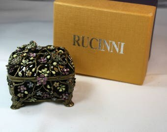 RUCINNI Bronze Footed Trinket Box, Swarvoski Crystals with Original Box.