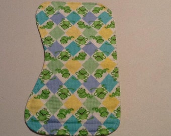 Baby Burp Cloth, frogs