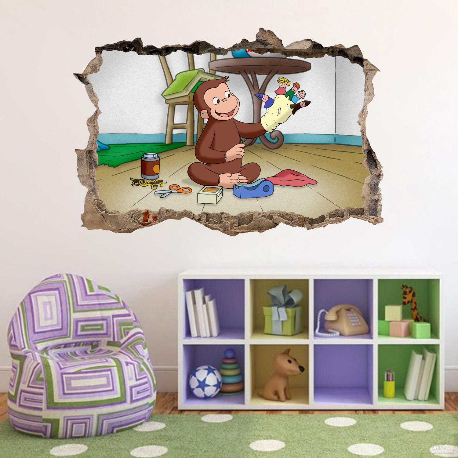 Curious George Smashed Wall Decal Graphic Wall Sticker Home Decor Art H403 Part 50