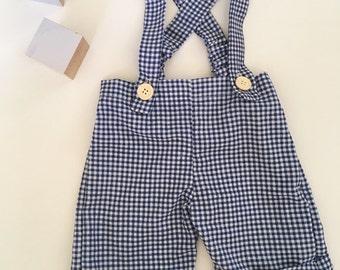 Vintage Suspender Shorts - Checkered