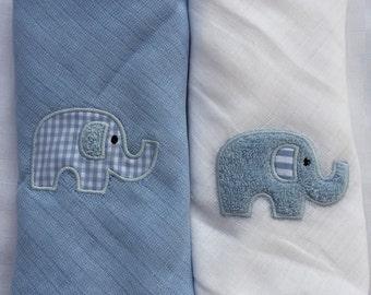 Burp cloth gauze Doudou elephant Egon Twinpack
