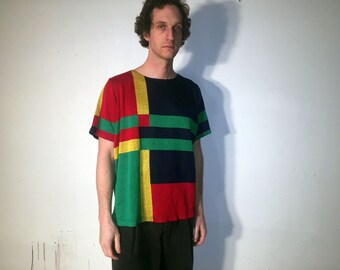 Vintage Oversized Color Block Sweater Shirt