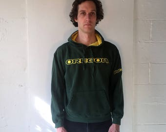 90s Oregon Ducks Green and Yellow Hoodie