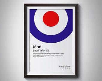 Digital Download, Mod Print, Mod Culture, Vespa, Lambretta, Ska, Northern Soul, Mod Target, Wall Print, Mod, Scooter, Retro ,Mods, wall Art