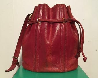 Vintage 1980s Drawstring Cherry Red Leather Snake Print Bucket Bag