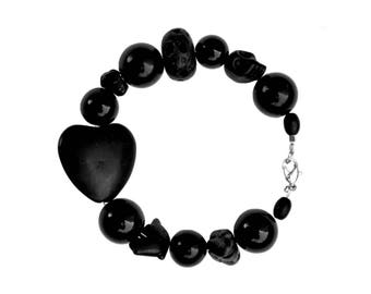 Black Beaded Bracelet  Women's Bracelet  Semi-precious Stone  Heart Bracelet  Women's Gift