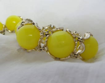 Vintage Yellow Moonglow Earrings and Bracelet Set