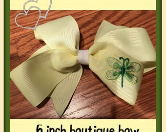 Spring hairbow, summer hairbow, 6 inch pale yellow boutique bow with green and yellow firefly appliqué