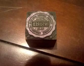 Federal Savings & Loan Insurance Logo Printing Press Stamp